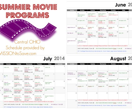 Printable Central Ohio Summer Movie Schedule