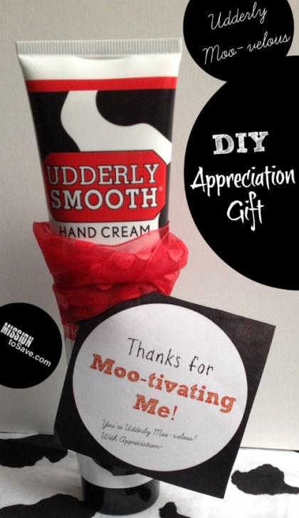 Thanks for Mootivating Me FREE printable tags. Use them with UdderlySmooth cream for a cute (and inexpensive) appreciation gift for teacher, coaches and more!