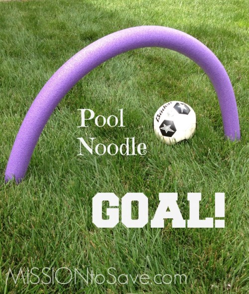 Easy DIY Pool Noodle Soccer Goal. Find this and more DIY Pool Noodle Games- no water needed! Check out these fun alternative used for pool noodles!