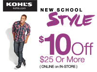 Kohl's Coupon for $10 off $25
