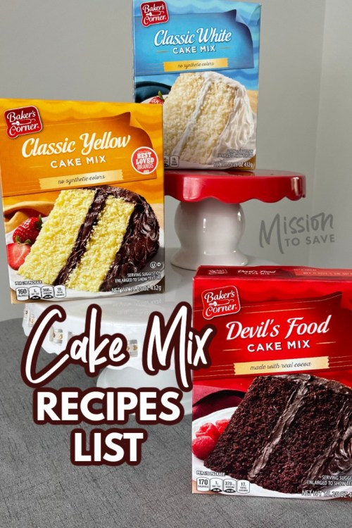 cake mix boxes on cake stands