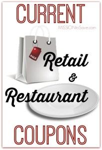 Check in each week to see current Retail Coupons and Restaurant Coupons. Save more!