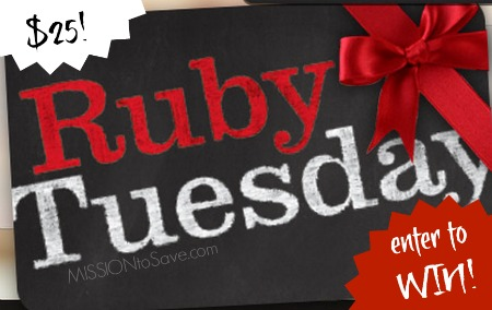 Ruby Tuesday Gift Card Giveaway (ends 9/30/14)