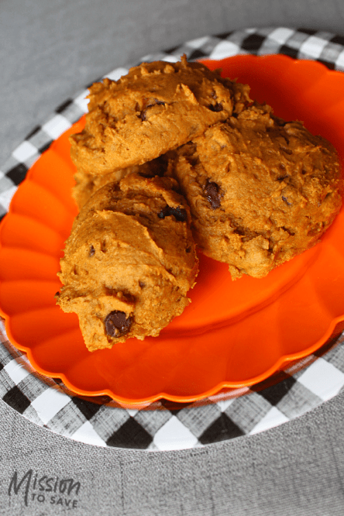 pumpkin cookies on buffalo check plate