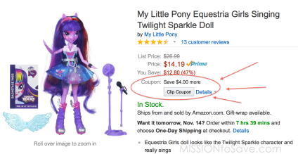 SAVE using this My Little Pony Equestria Doll Amazon Coupon