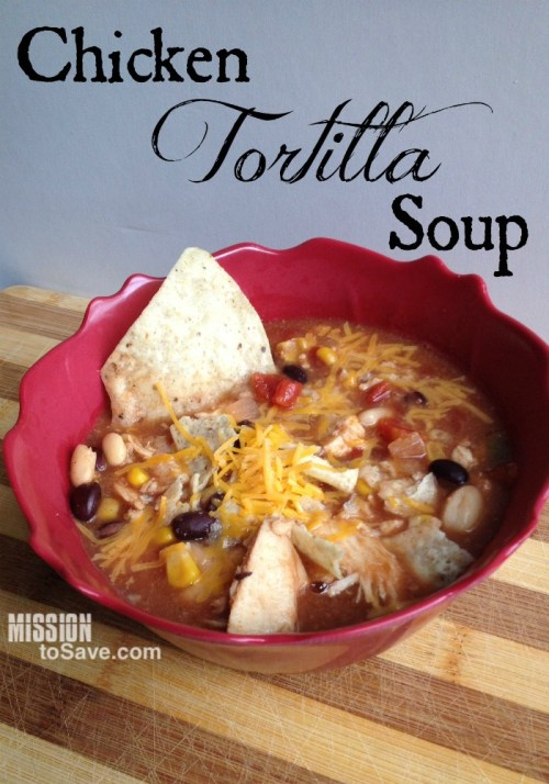 This Crockpot Chicken Tortilla Soup Recipe is a family fave. It's so flavorful and easy too!