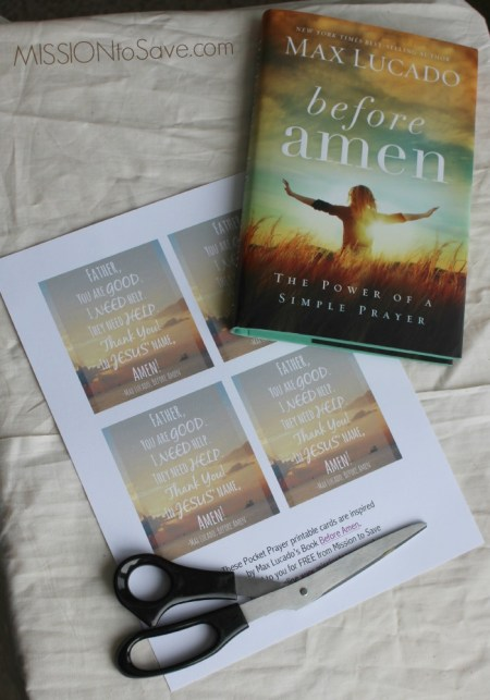 Max Lucado Before Amen Printable Cards to help you remember to talk to God each day with this simple prayer. #FCblogger