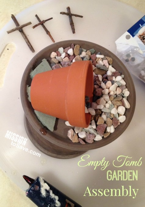 Empty Tomb Garden Assembly is shown with stick to form crosses and pot on pots for the tomb