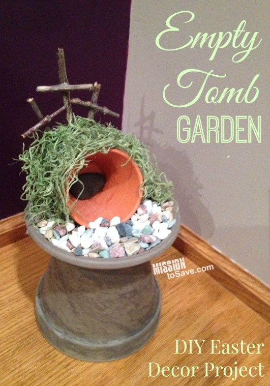 Empty Tomb Garden using pots, rocks, moss and sticks for Easter display