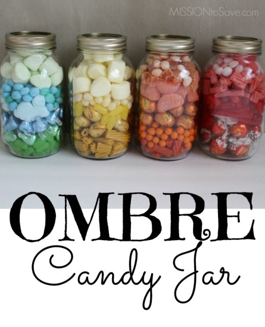 ombre colored candy in mason jars for gifts