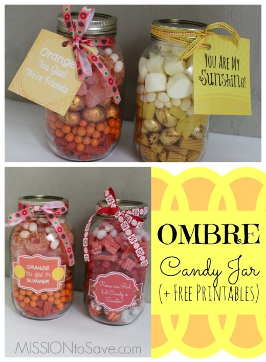Colorful candy in mason jars with printable gift tags