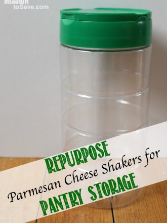 I love looking for ways to repurpose and recycle. Like this >> Repurpose Parmesan Cheese Shakers for Pantry Storage