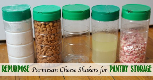 Check out some clever ways to recycle for free storage containers.  Repurpose Parmesan Cheese Shakers for Pantry Storage!