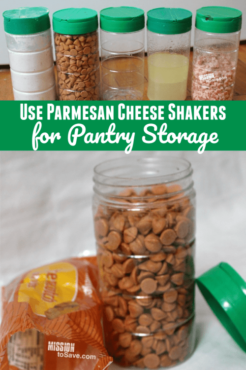 repurposed parmesan containers for pantry storage