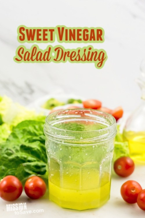 sweet vinegar dressing in a jar