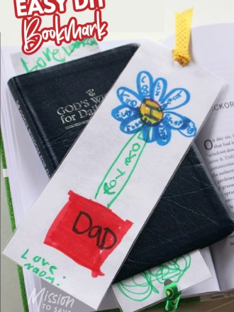 kids drawing turned into easy diy bookmark