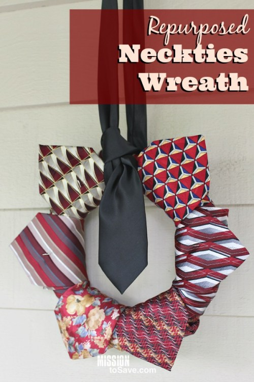 This Repurposed Neckties Wreath is the perfect DIY project for Father's Day. It's the new way to give him a tie! Or make it with neckties from a special someone for a piece to cherish forever.