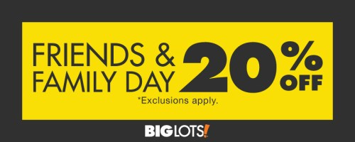 Big Lots Coupon for 20% Off Friends and Family Weekend