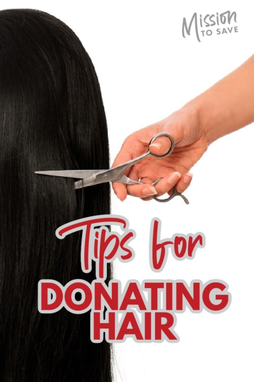 scissors cutting hair with text tips for donating hair