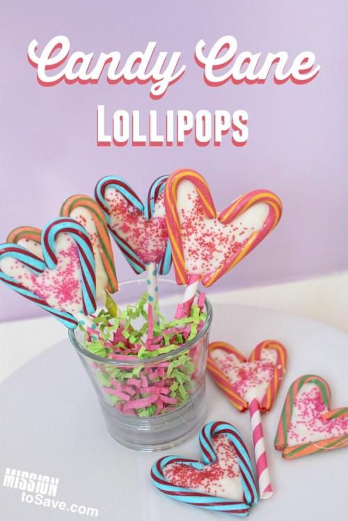 Learn how to make these cute colored Candy Cane Lollipops. This frugal, heart shapped lollipop is made from Christmas Clearance candy canes. A fun DIY project for Valentine's Day.