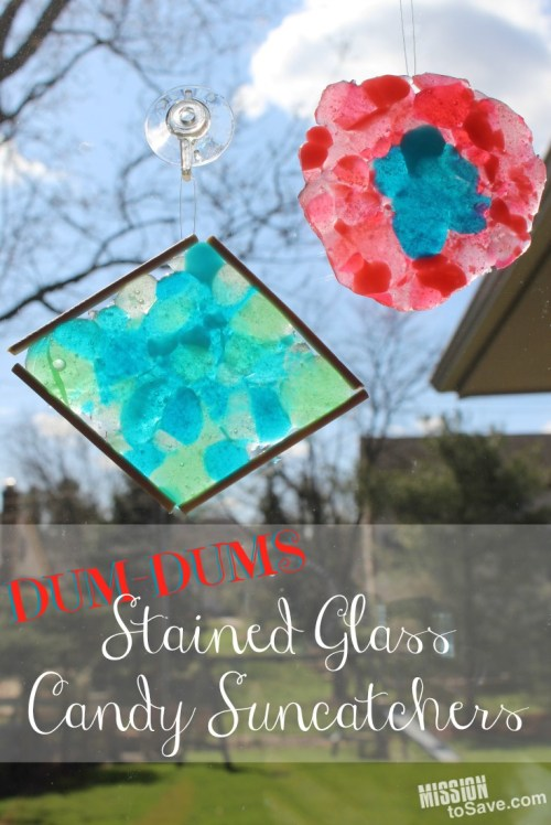Make these colorful Dum Dums Stained Glass Candy Suncatchers. It's a sweet craft project for kids.