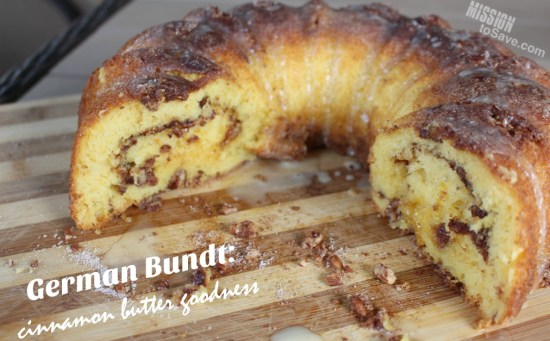 cut German Bundt Cake with cinnamon and butter flavor