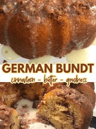 close up of German Bundt Cake butter cake recipe