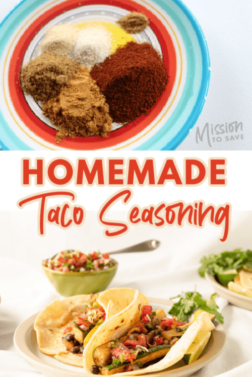 taco seasoning mix on plate and picture of tacos