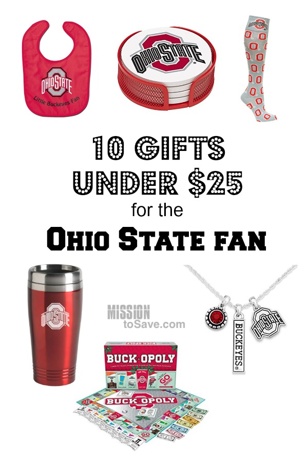 Ohio loves our Buckeyes! Check out this list of 10 Buckeye gifts under $25 for the Ohio State Fan in your life. Go Bucks!