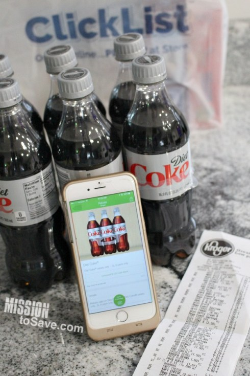 Kroger ClickList grocery bag, Ibotta app on phone and store receipt with Diet Coke Bottles.