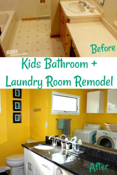 A kids bathroom plus laundry room idea is a practical and clever home improvement project. Remodeling an existing bathroom design is perfect for busy families.