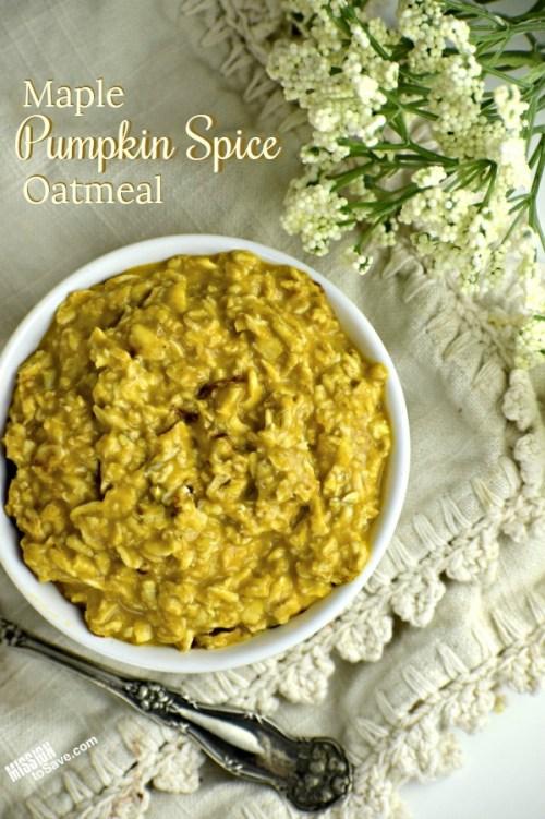 Maple Pumpkin Spice Oatmeal in bowl