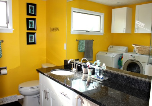 A kids bathroom plus laundry room idea is a practical and clever home design project. Remodeling an existing bathroom this way is perfect for busy families.