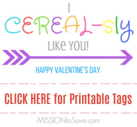 "Many schools still have a fun Valentine's Day Classroom party.  And that means you may be looking for an equally fun Classroom Valentine's Day gift idea. These ""I CEREAL-sly Like You"" Valentines come with Free Printable Gift Tags too!"