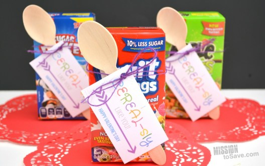 """Many schools still have a fun Valentine's Day Classroom party. And that means you may be looking for an equally fun Classroom Valentine's Day gift idea. These """"I CEREAL-sly Like You"""" Valentines come with Free Printable Gift Tags too!"""
