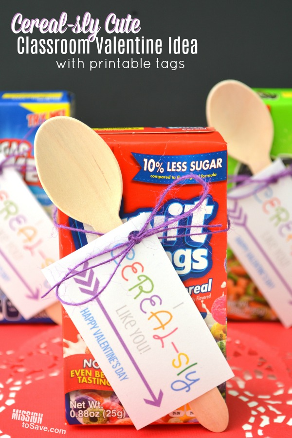 "Many schools still have a fun Valentine's Day Classroom party.  And that means you may be looking for an equally fun Classroom Valentine's Day gift idea. Make these ""I CEREAL-sly Like You"" Valentine Gifts for a cute idea!"