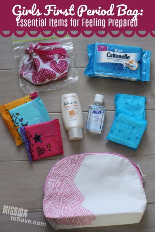 Girls first period bag supplies- pads, wipes, underwear, hand sanitizer