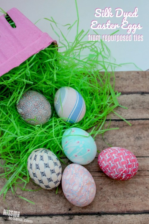silk dyed eggs with easter grass and basket