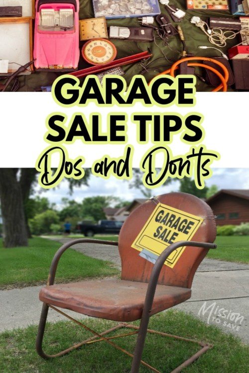 garage sale tips sign and picture of yard sale items
