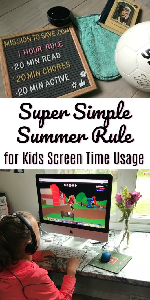 letter board with summer rules and kid playing on a screen
