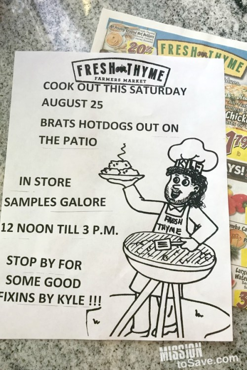 Fresh Thyme community cookout flier