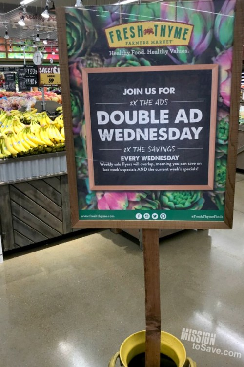 Fresh Thyme Double Ad Wednesday sign in produce department.