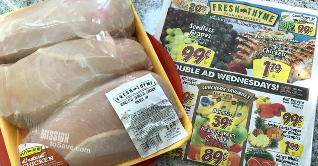 low Fresh Thyme produce and meat prices in ad