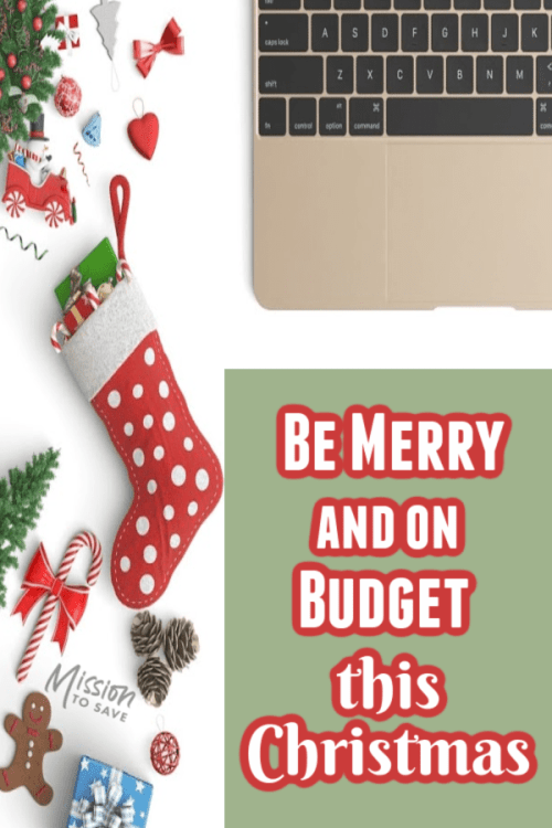 Christmas items and laptop text about Christmas budget
