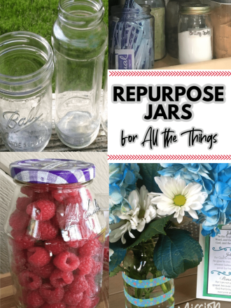 repurposed jars being used for many things like a vase and storage