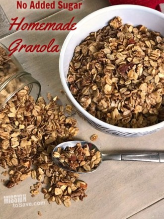 This no added sugar homemade granola recipe has just the right amount of sweet and salty thanks to using unsweetened applesauce, almonds and sunflower seeds.