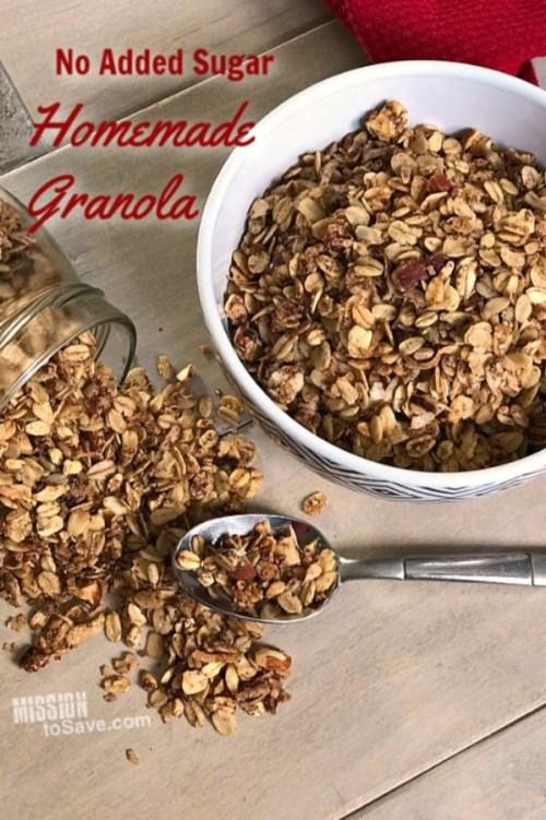 no added sugar homemade granola recipe with almonds
