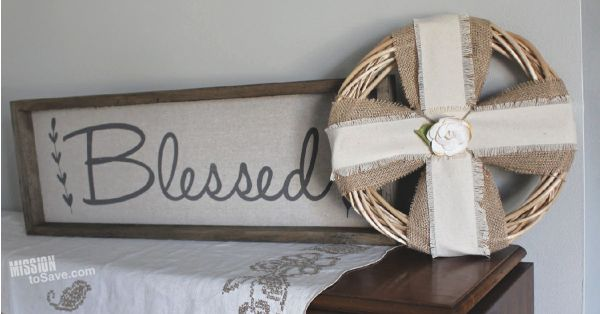shabby chic home decor wreath on tabletop display