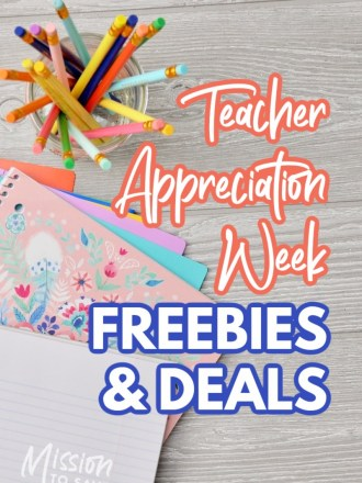 school supplies with text teacher appreciation week freebies