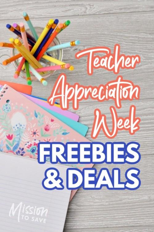 school supplies with text teacher appreciation week freebies